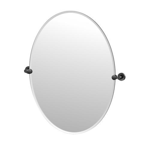 Glam Oval Mirror in Matte Black