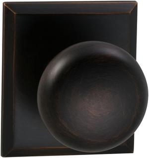 Interior Traditional Knob Latchset with Rectangular Rose in (TB Tuscan Bronze, Lacquered) Product Image