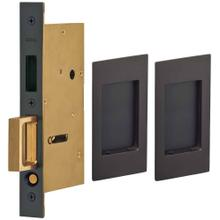 Product Image - Pair Dummy Pocket Door Lock with Modern Rectangular Trim featuring Mortise Edge Pull in (US10B Black, Oil-Rubbed, Lacquered)