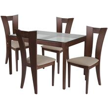 5 Piece Walnut Wood Dining Table Set with Glass Top and Slotted Back Wood Dining Chairs - Padded Seats