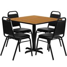 36'' Square Natural Laminate Table Set with 4 Black Trapezoidal Back Banquet Chairs