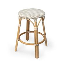 Evoking images of sidewalk tables in the Cote d'Azur, counter stools like this will give your kitchen or patio the casual sophistication of a Mediterranean coastal bistro. Expertly crafted from thick bent rattan for superb durability, it features weather resistant woven plastic in a beige and white pattern. This backless counter stool is lightweight for easy mobility with comfort to make the space it's in a frequent gathering place.