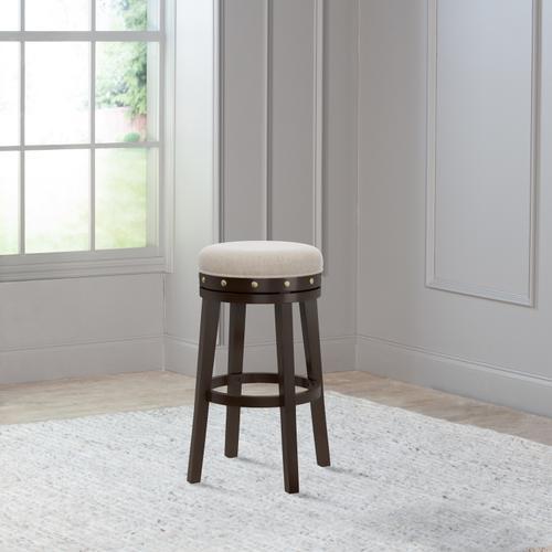 Product Image - Benard Wood Backless Bar Height Swivel Stool, Deep Smoke Brown