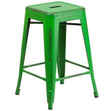 24'' High Backless Distressed Green Metal Indoor-Outdoor Counter Height Stool