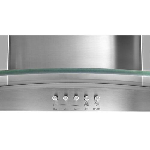 "36"" Concave Glass Wall Mount Range Hood"