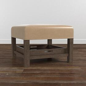 Lori Leather Ottoman w/Trays