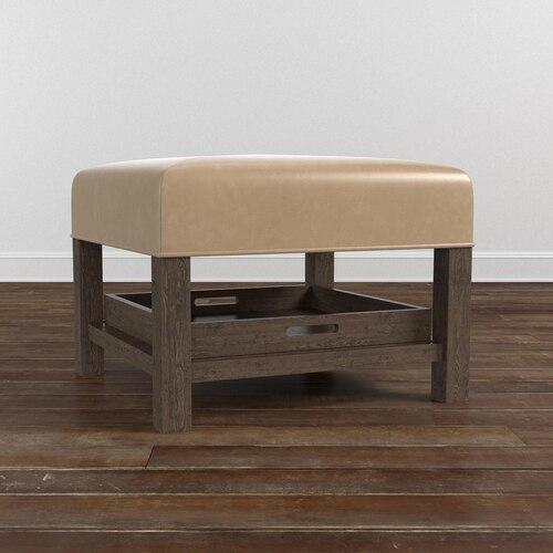 Lori Leather Ottoman w/Tray