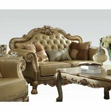 ACME Dresden Loveseat w/3 Pillows - 53161 - Bone PU & Gold Patina
