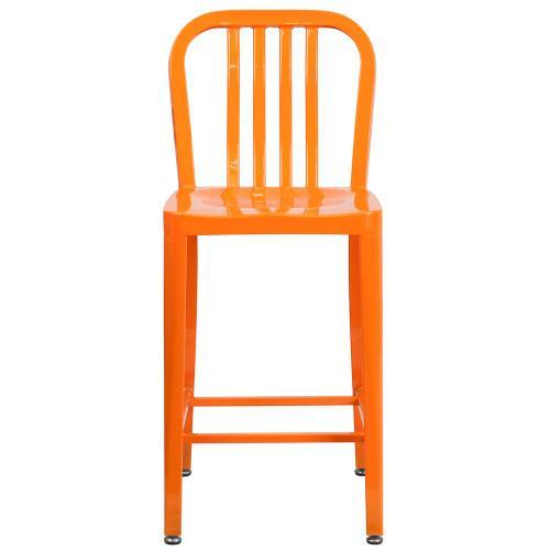 24'' High Orange Metal Indoor-Outdoor Counter Height Stool with Vertical Slat Back
