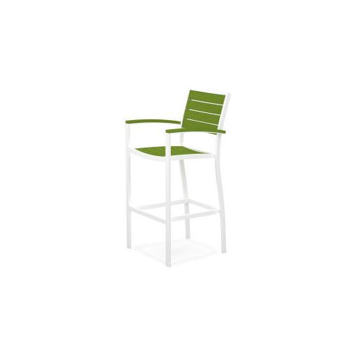 Polywood Furnishings - Eurou2122 Bar Arm Chair in Satin White / Lime