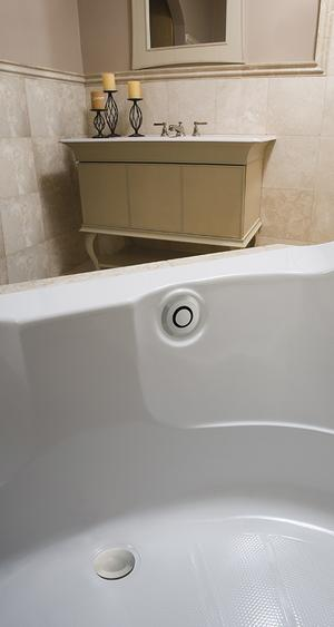 "PushControl Bath Waste and Overflow A simple push Brass - ForeverShine PVD brushed nickel Material - Finish 17"" - 24"" Tub Depth* 27"" Cable Length Product Image"