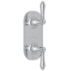 "Polished Chrome Italian Bath 1/2"" Thermostatic/Diverter Control Trim with Metal Lever Product Image"