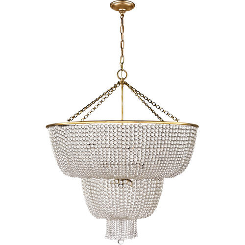 Visual Comfort - AERIN Jacqueline 12 Light 32 inch Hand-Rubbed Antique Brass Two-Tier Chandelier Ceiling Light in Clear Glass