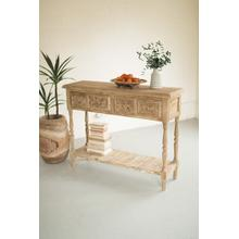 See Details - wood console with four drawers & lower shelf