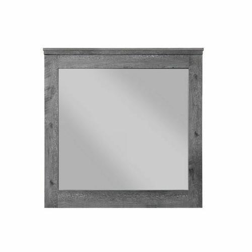 ACME Vidalia Mirror - 27324 - Rustic - Mirror, Wood (Solid Pine), Veneer (Melamine), MDF, PB - Rustic Gray Oak