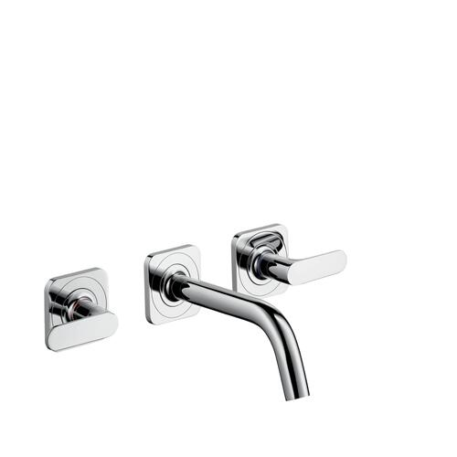 Stainless Steel Optic 3-hole basin mixer for concealed installation wall-mounted with spout 166 mm, lever handles and escutcheons