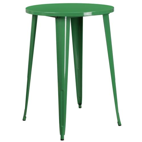 30'' Round Green Metal Indoor-Outdoor Bar Height Table