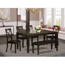 6 Pc Dining Table with bench-Dining Table and 4 Kitchen Dining Chairs plus Bench