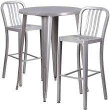 30'' Round Silver Metal Indoor-Outdoor Bar Table Set with 2 Vertical Slat Back Stools