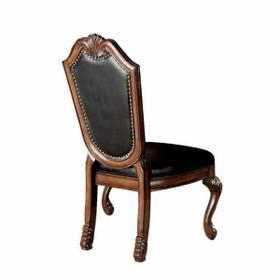 ACME Chateau De Ville Side Chair (Set-2) - 10038 - Black PU & Cherry