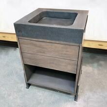 "24"" Elemental Prototype Vanity Wood Stand With Steel Feet U0026 Terra Bath Sink / Seconds"