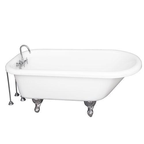 """Anthea 60"""" Acrylic Roll Top Tub Kit in White - Polished Chrome Accessories"""