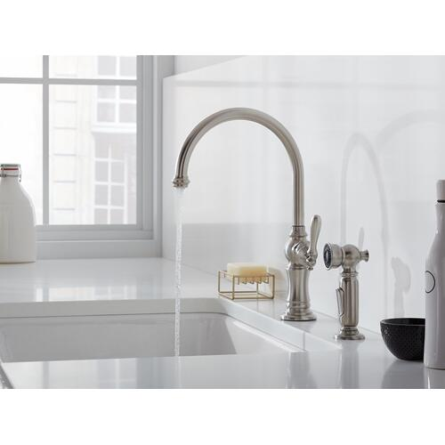 K992622bz In Oil Rubbed Bronze By Kohler In Atlanta Ga Oil Rubbed Bronze 2 Hole Kitchen Sink Faucet With 14 11 16 Swing Spout And Matching Finish Two Function Side Spray With Sweep And Berrysoft Spray Arc Spout