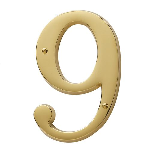 Lifetime Polished Brass House Number - 9