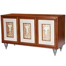 Rich elegance of the attention to detail on this stylish sideboard. Just enjoy the leather paneled door panels that are framing the interior design of the Capiz Shells to create a statement for all. The Maple wood veneers and Gemelina wood solids offer a warmth to the wood finish. The storage space of the interior offers roomy space to hold all your special forget me nots. The details of the tri-mound, bun feet offer a look of destinction; you will not find elsewhere. This is the one statement piece you will look upon with pride in ownership.