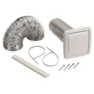 "Wall Ducting Kit - 5' of 4"" diameter flexible foil duct, white wall cap for 4"" round duct, 3"" to 4"" duct adapter, 2 nylon zip ties and mounting screws"