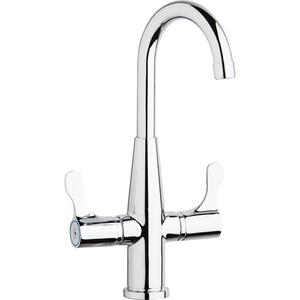 Elkay Single Hole Deck Mount Faucet with Gooseneck Spout Twin Lever Handles Chrome Product Image