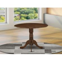 Dublin Dining Table Made of Rubber Wood with Two 9 Inch Drop Leaves, 42 Inch Round, Walnut Finish