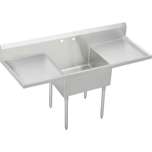 "Elkay Weldbilt Stainless Steel 84"" x 27-1/2"" x 14"" Floor Mount, Single Compartment Scullery Sink with Drainboard"