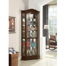 See Details - Traditional Rich Brown Corner Curio Cabinet