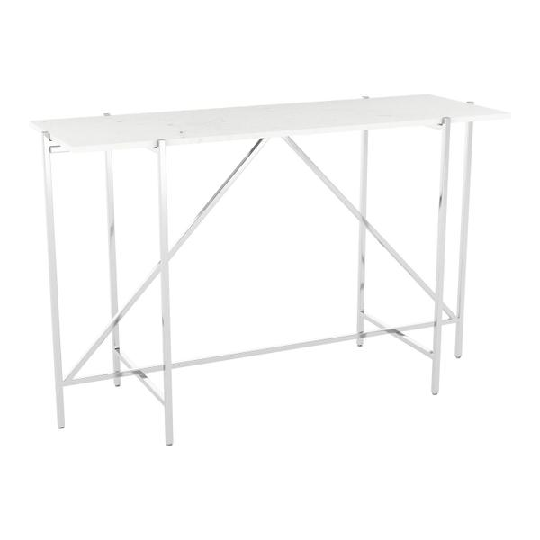 See Details - Titan Marble Console Table White & Silver