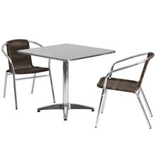 31.5'' Square Aluminum Indoor-Outdoor Table Set with 2 Dark Brown Rattan Chairs
