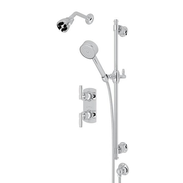 Polished Chrome ZEPHYR THERMOSTATIC SHOWER PACKAGE with Metal Lever Zephyr Series Only