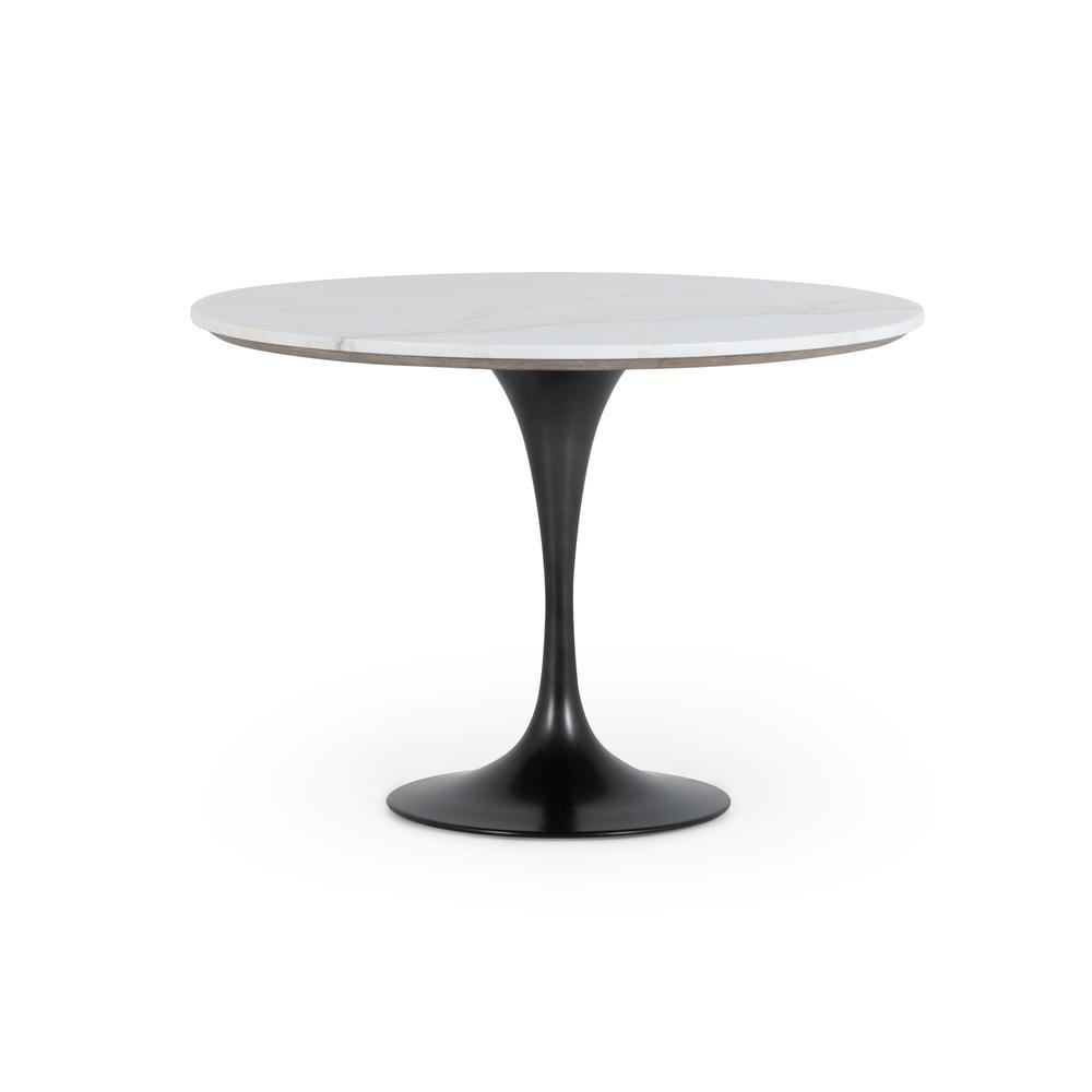 """White Marble Finish 42"""" Size Powell Dining Table"""