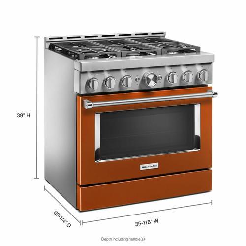 KitchenAid - KitchenAid® 36'' Smart Commercial-Style Gas Range with 6 Burners - Scorched Orange