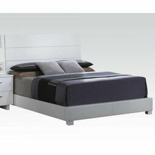 ACME Lorimar Eastern King Bed - 22627EK_KIT - White PU & Chrome Leg