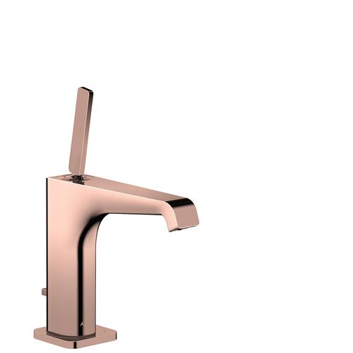 Polished Red Gold Single lever basin mixer 130 with pin handle and pop-up waste set