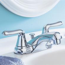 View Product - Colony Soft 2-Handle 4 Inch Centerset Bathroom Faucet Non-Metallic Pop Up Drain - Polished Chrome