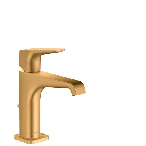 Brushed Gold Optic Single lever basin mixer 130 with lever handle and pop-up waste set