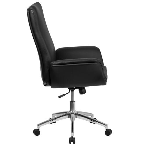 Mid-Back Black Leather Executive Executive Swivel Chair with Flared Arms