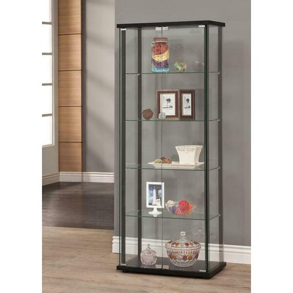 See Details - Contemporary Black Curio Cabinet