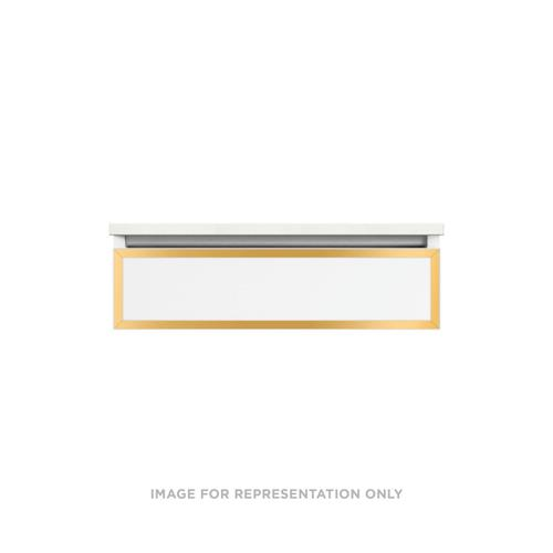 """Profiles 30-1/8"""" X 7-1/2"""" X 21-3/4"""" Modular Vanity In Matte White With Matte Gold Finish and Tip Out Drawer"""