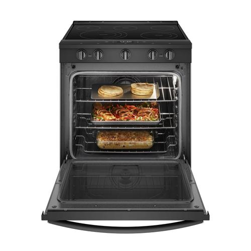 Whirlpool - 6.4 cu. ft. Smart Slide-in Electric Range with Scan-to-Cook Technology Black