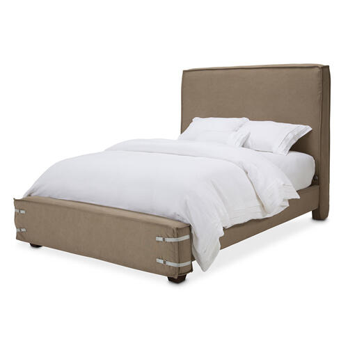 Penninsula Queen Upholstered Bed Khaki (2 Pc)