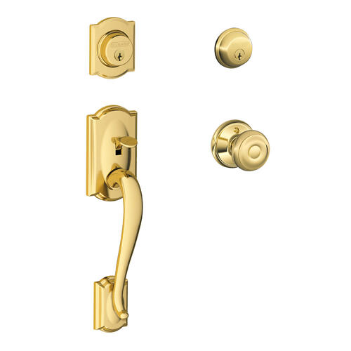 Camelot Double Cylinder Handleset and Georgian Knob - Bright Brass