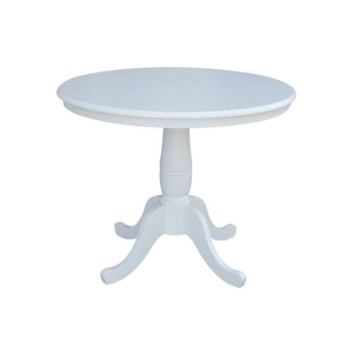 """Product Image - 36"""" Pedestal Table in Pure White"""